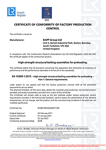BAPP Group Limited - CPR Certificate (UK