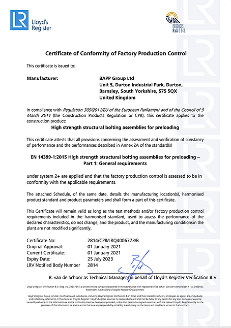 BAPP Group Limited - CPR Certificate (EU