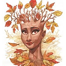 Fall Goddess Watercolor