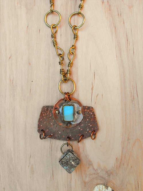 mixed metal pendant necklace on handmade chain