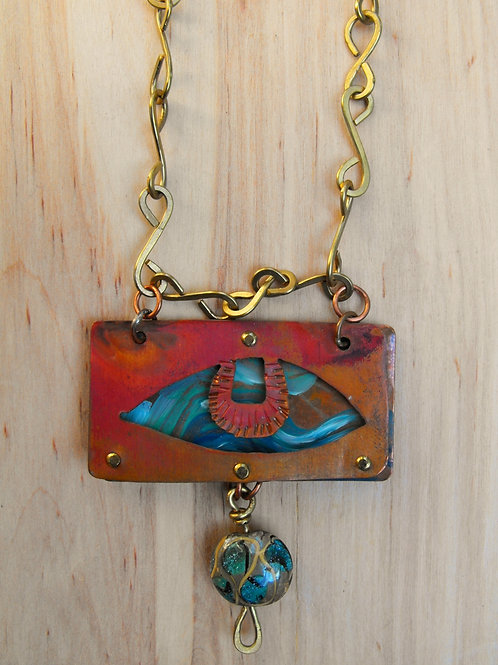 Hand painted mixed metal pendant necklace on handmade chain