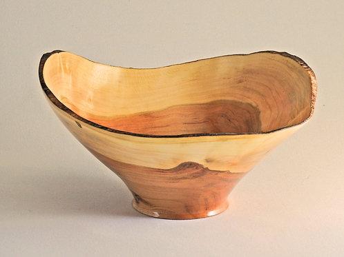 Cherry Heartwood and Sapwood Natural Edge Bowl