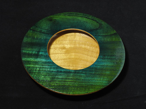 Decorative Cherry Wood Bowl Dyed Emerald Green