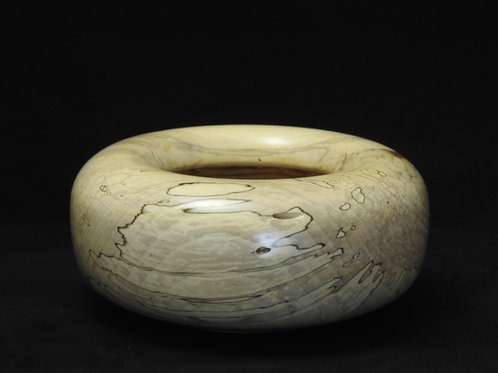 Spalted Maple Wood Bowl with Rolled-Top Edge