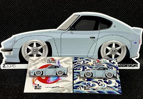 Datsun 260z Pin and Sticker Combo