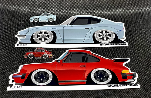 Widebody Datsun 260Z and Porsche 911 SC Pin and Sticker Combo