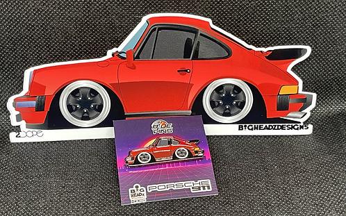 Porsche 911 SC Pin and Sticker Combo