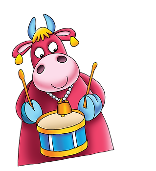 Maggie Moo playing her drums