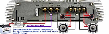 Подключение 2-х канального усилителя