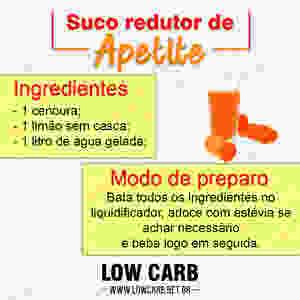 suco redutor de apetite low carb