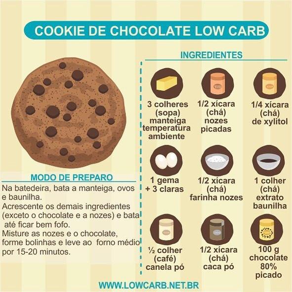receita de cookie de chocolate low carb