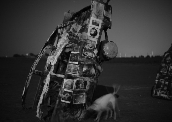 Totem #1 with my dog, B.  Photograph by Judy Sherrod