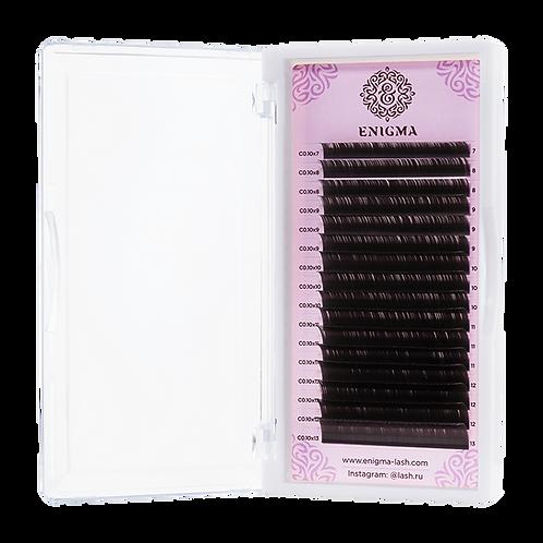 Ресницы Enigma цвет «Мокка» Изгиб D (микс) 16 линий