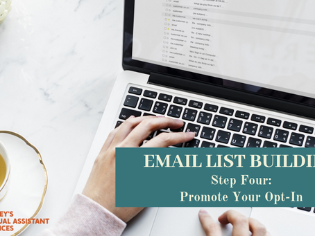 Email List Building Series: Step 4 - Promoting Your Opt-In & Creating Your Email Marketing Strategy