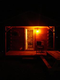 Cabins at dark