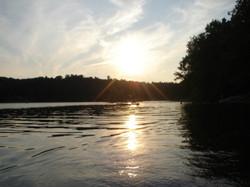 Sun setting on the lake