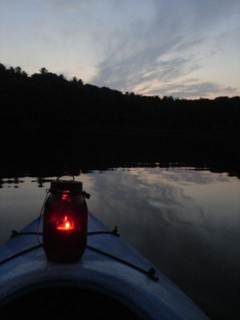 Candle-lit kayak
