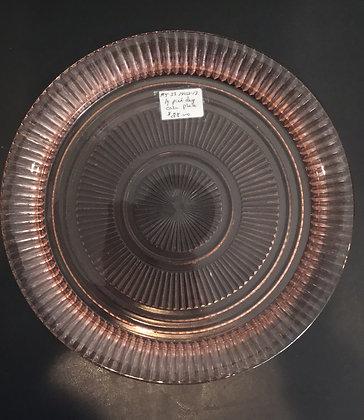Large Pink Depression Cake Plate