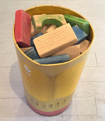Wooden blocks in can