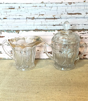 Glass Cream and Sugar Set