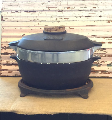 John Wright Cast Iron Steamer with Cork Stopper