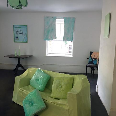 SOFA, curtains + Jo Kitchen paintings