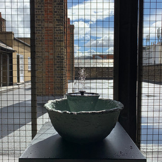 Worlds first functioning papier-mâché water fountain. Changing Room Gallery Open Studios, May Artist in Residence.