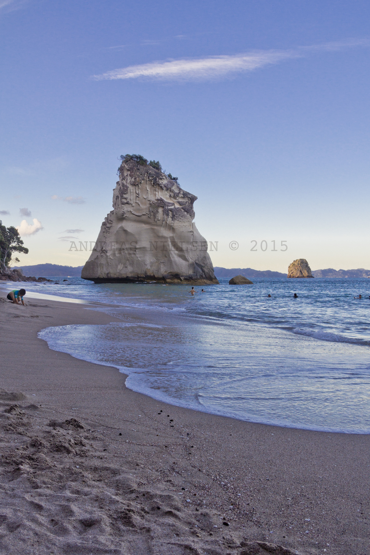 Fritstående klippe, Cathedral Cove.