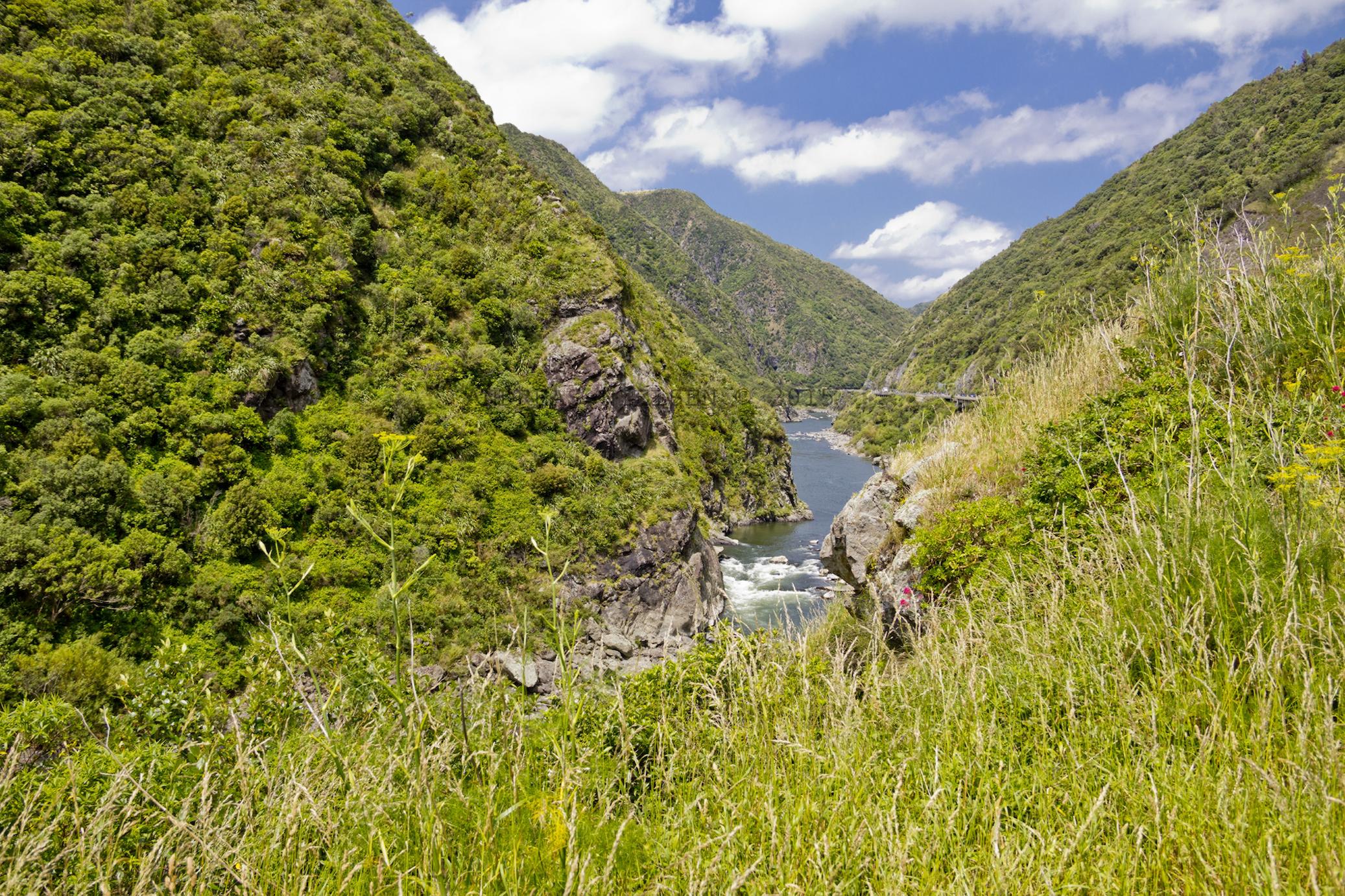 Flod skærer sig igennem bjergene.