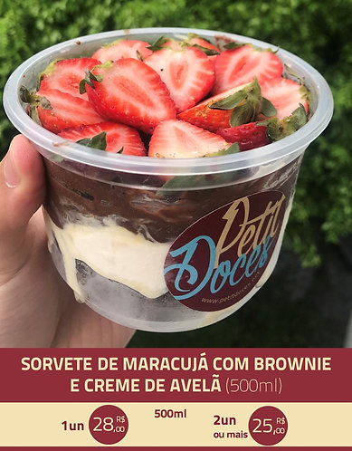 Sorvete de maracujá com brownie (500ml)