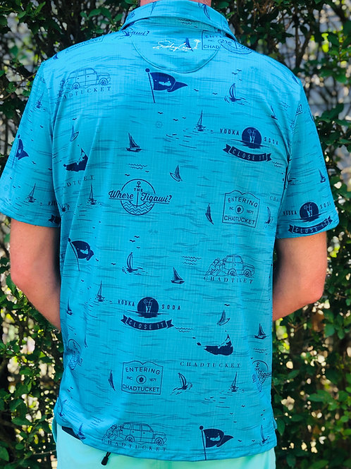 Blue UV Protection Performance Golf Shirt