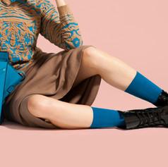 black shoes blue socks