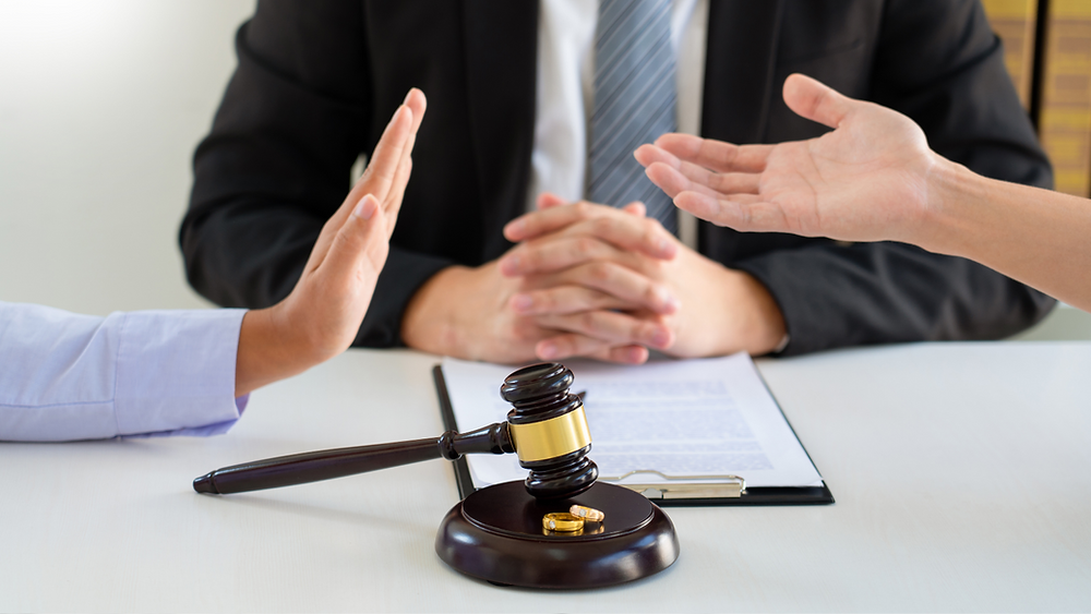 Picture of a gavel and people sat around a table arguing