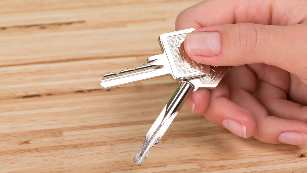 Picture of a hand holding some keys