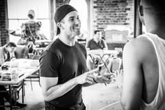 Michaeljon Slinger rehearsing Mythic at Charing Cross Theatre in London