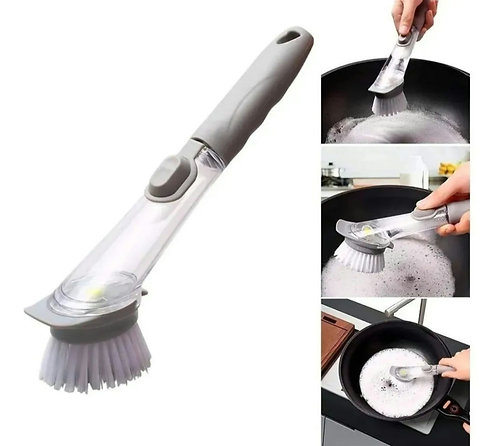 Cepillo esponja multiusos arrrancagrasa con dispensador de jabón