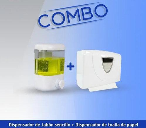 Combo dispensador de jabón + dispensador de toallas desechables en Z