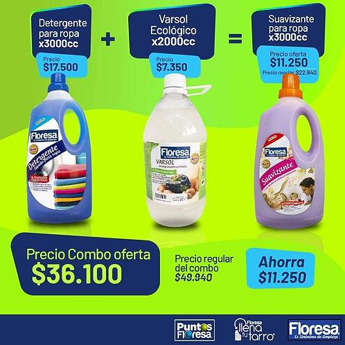 Detergente de ropa 3000cc + Varsol Ecológico 2000cc = -50% Suavizante Extra