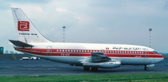 Tunis Air B.737 TS-IOE on its first visit to Newcastle on 1st June 1984.