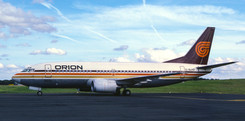 Orion Airways Boeing 737-300 G-BLKB arrived for crew training in beautiful weather on 12th February 1985.