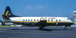 Euroair Viscount G-AOHT brought in Bob Dylan for a live concert, seen here at Newcastle on 5th July 1984.