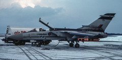 British Aerospace Tornado F.2 ZA267 takes on fuel on Stand 1 during the hard winter of 1985 after diverting in on January 15th.