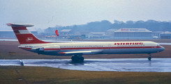 A milestone movement, Newcastle Airport's first Ilyushin Il-62, one of only two examples to ever appear here, Interflug's DDR-SEO on the memorable morning of Sunday 3rd March 1985.