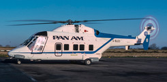 Westland WG.30 G-BLEO wearing Pan Am livery at Newcastle on 18th January 1984.