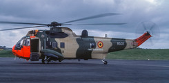 Sea King Mk.48 RS-03 of the Belgian Air Force seen at Newcastle on 7th May 1984.