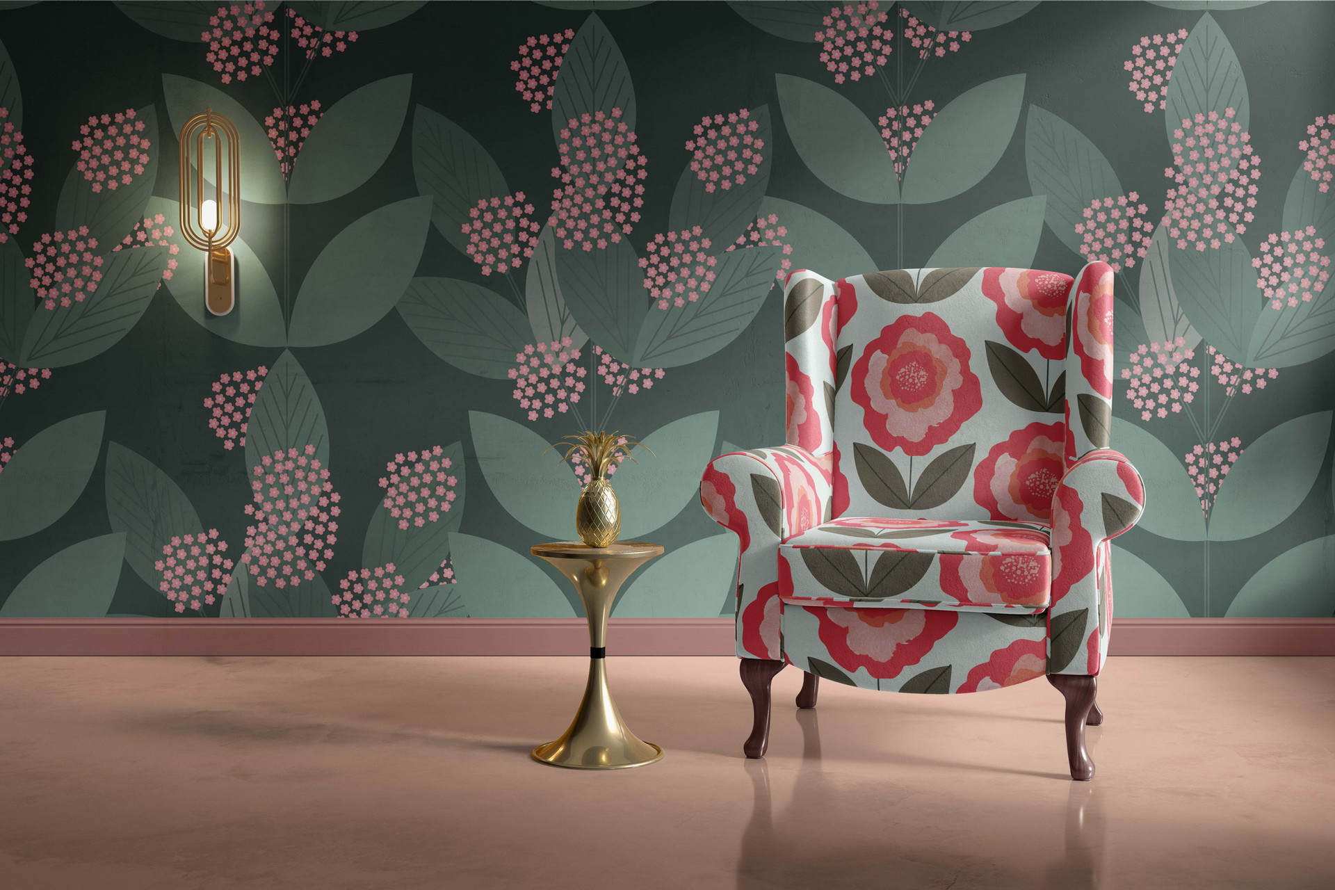 The Flower Puff Upholstery and Wallpaper
