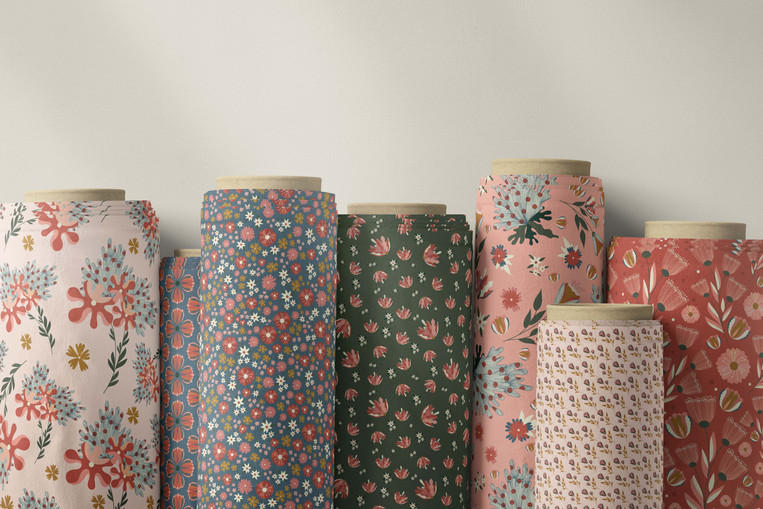 Autumn print fabric rolls