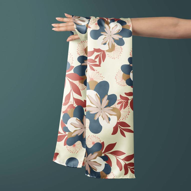 Modern Botanics on a silk scarf