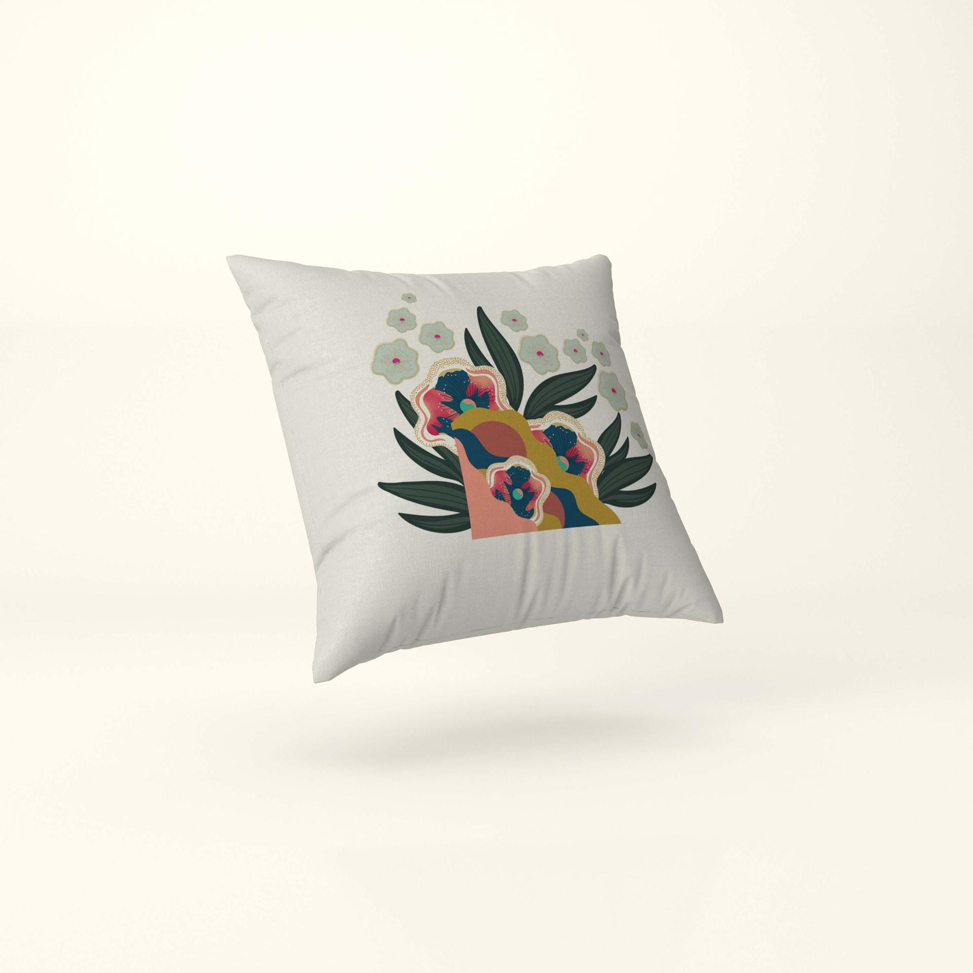 Tropical Blossomy Motif Cushion