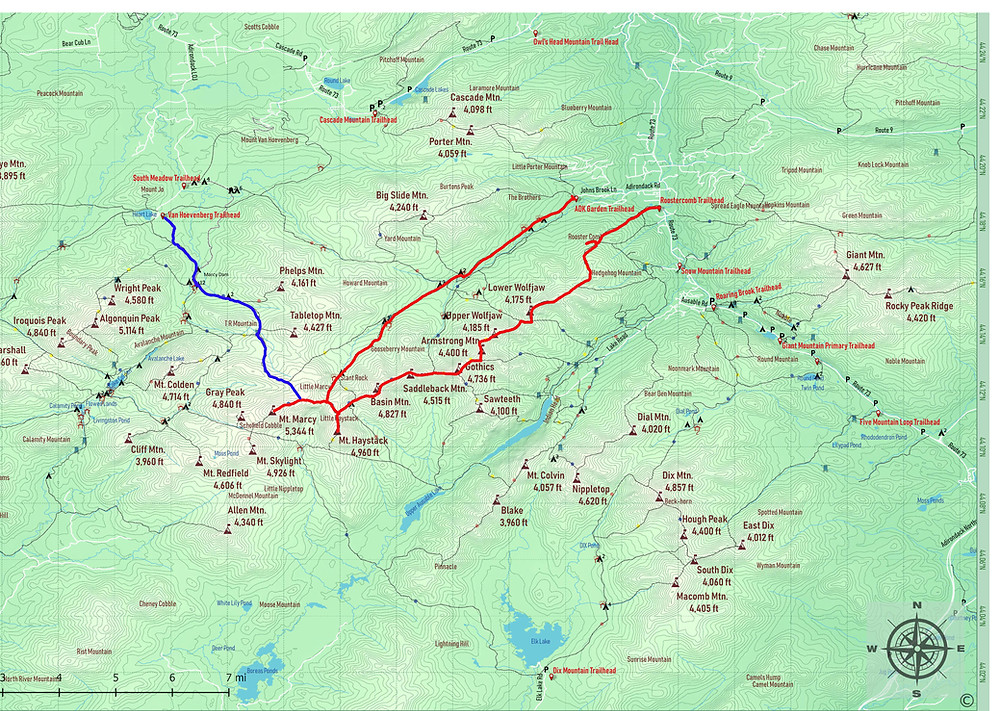 Great Range Traverse Map ADK